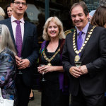 Mr. Jools Scott, composer of The Cool Web, Cllr Cherry Beath, Rt Worshipful Mayor of Bath, and Chairman of BANES Cllr Martin Veal