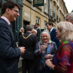 Mr. Jools Scott, composer of The Cool Web, with Cllr Cherry Beath, Rt Worshipful Mayor of Bath and Mrs. June Stockham, and Mr.Leonard Pearcey, who reads The Edith Cavell Story.